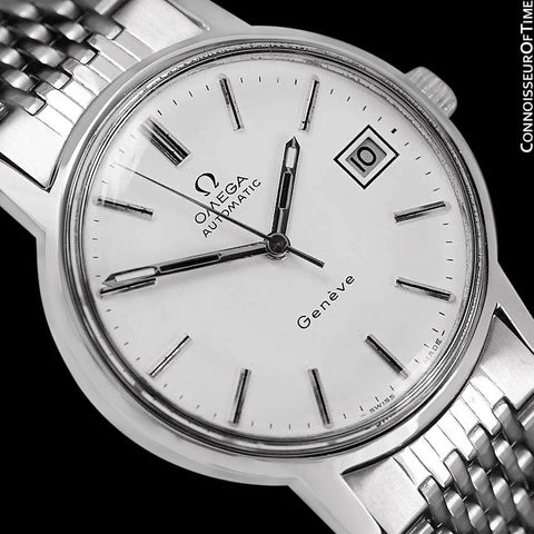 1974 Omega Geneve Vintage Mens Automatic Watch with Quick-Setting Date - Stainless Steel