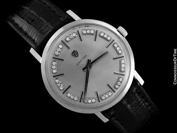 1960's Croton Swiss Vintage Mens Watch - 14K White Gold & Diamonds