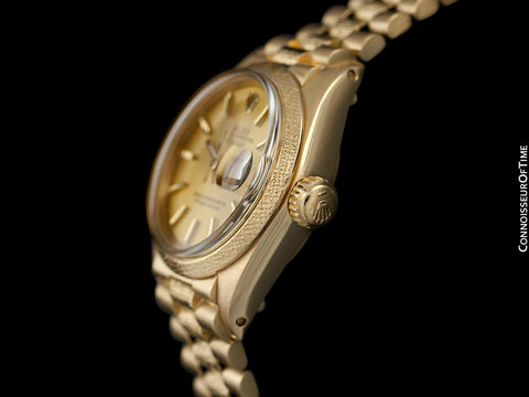 Rolex President Datejust Ladies Bark Finish Champagne Dial Watch, Ref. 6901 - 18K Gold