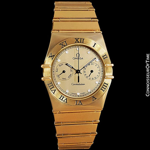 Omega Constellation Mens 35mm, Quartz, Day Date - 18K Gold Plated and Diamonds