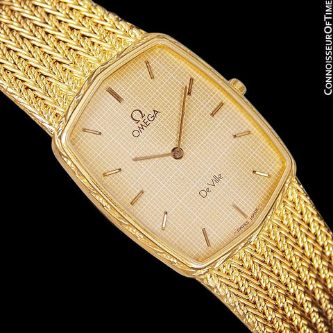 1986 Omega De Ville Vintage Mens Dress Watch - 18K Gold Plated and Stainless Steel