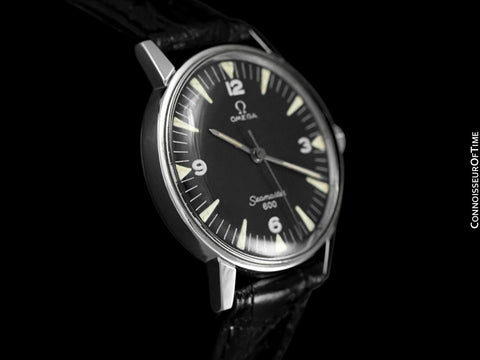 1967 Omega Seamaster 600 Vintage Mens Handwound Watch with Military Style Dial - Stainless Steel