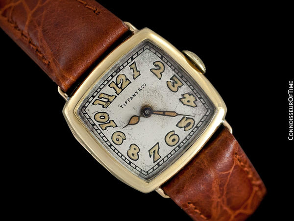 1918 Tiffany & Co. by Longines Mens Midsize Unisex Art Deco Wristwatch - 18K Gold