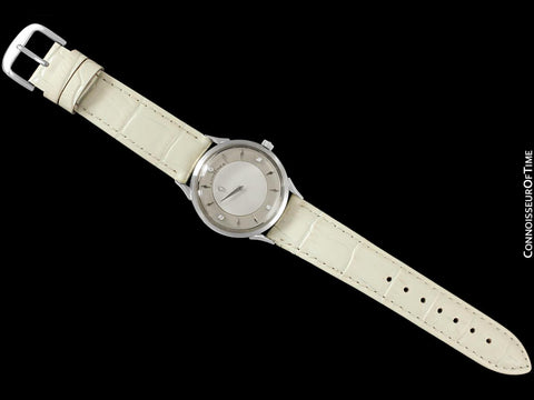 c. 1960 Longines Mystery Dial Vintage Watch - 14K White Gold & Diamonds - Thunderbolt Dial