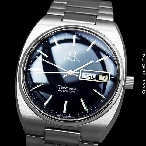 1980 Omega Seamaster Vintage Mens Bracelet Watch, Automatic, Day Date - Stainless Steel