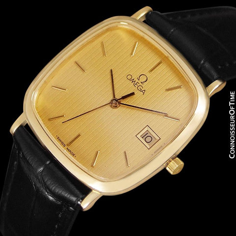 1985 Omega De Ville Mens Vintage Midsize Ultra Thin Cushion Watch - 18K Gold Plated and Stainless Steel