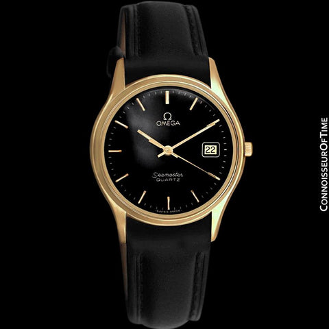 1982 Omega Seamaster Classic Accuset Vintage Mens Quartz Watch - 18K Gold Plated & Stainless Steel