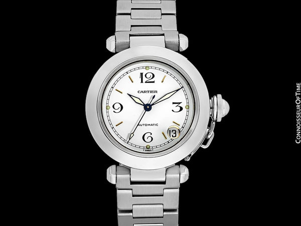 Cartier Pasha C 35MM Mens Midsize Unisex Watch, Automatic, Date - Stainless Steel - W31015M7
