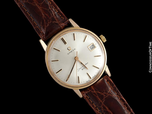 1966 Omega Seamaster 600 Vintage Mens Handwound Watch - 18K Rose Gold Plated & Stainless Steel