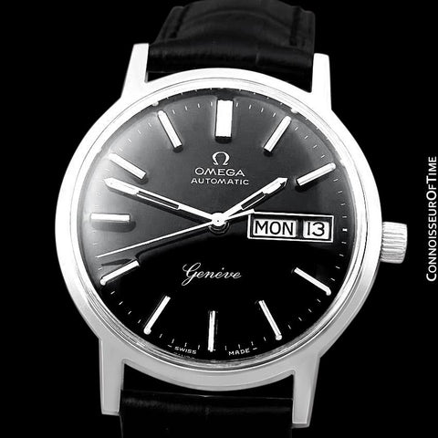 1976 Omega Geneve Vintage Automatic Day Date Mens Watch - Stainless Steel