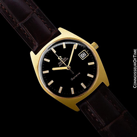 1970 Omega Geneve Vintage Mens Cal. 563 Automatic Watch with Quick-Setting Date - 18K Gold Plated & Stainless Steel