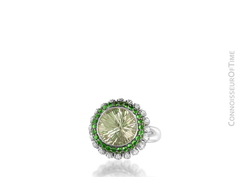 14K White Gold Diamond & Green Quartz Large High Fashion Cocktail Ring - 7.52 Carats Total Gem Weight
