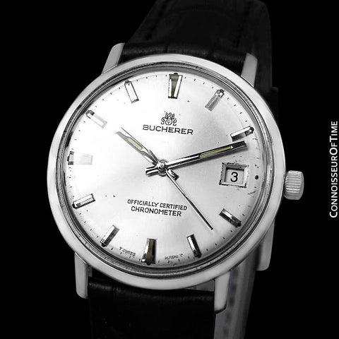 1960's Bucherer (Carl F. Bucherer) Vintage Mens Officially Certified Chronometer Watch - Stainless Steel