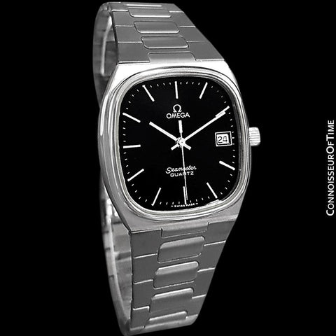 1980 Omega Seamaster Classic Vintage Mens Black Dial Quartz Watch, Date - Stainless Steel