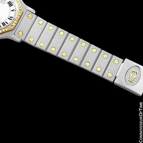 Cartier Santos Octagon Mens Midsize Watch, Automatic - Stainless Steel, 18K Gold and Diamonds