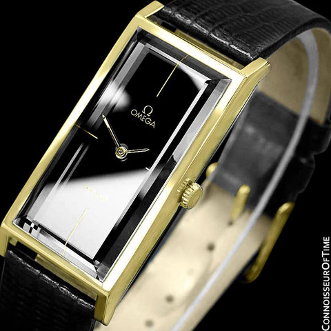 "1971 Omega De Ville Mens ""Emerald"" Modern Watch By Andrew Grima - 18K Gold Plated & Stainless Steel"
