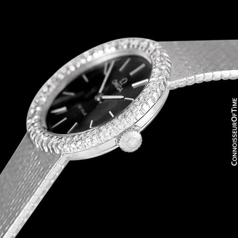 1978 Omega De Ville Vintage Ladies Handwound Watch with Full Length Bracelet - Stainless Steel & Diamonds