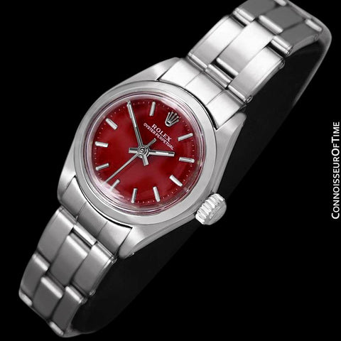 1979 Rolex Oyster Perpetual Ladies Vintage Watch with Berry Red Dial, No Date - Stainless Steel