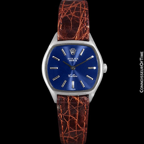1973 Rolex Cellini Ladies Vintage Dress Watch Ref. 3801, Royal Blue Dial - 18K White Gold