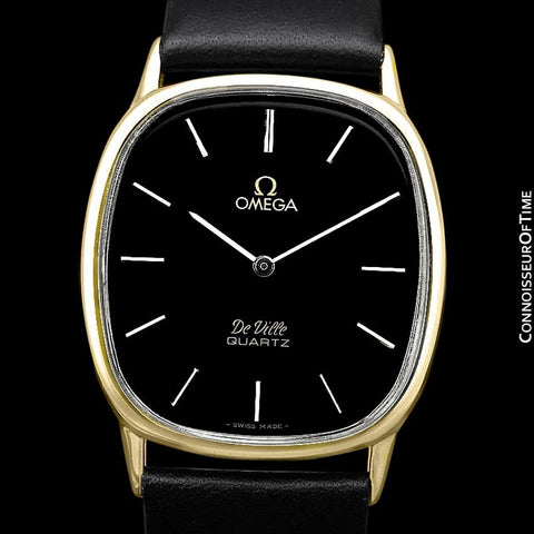 Omega De Ville Mens Midsize Accuset Thin Dress Watch - 18K Gold Plated and Stainless Steel