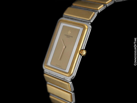 "1980's Vacheron & Constantin Harmony Vintage ""Modern"" Mens Two-Tone Watch with Bracelet - Solid 18K Gold & Stainless Steel"