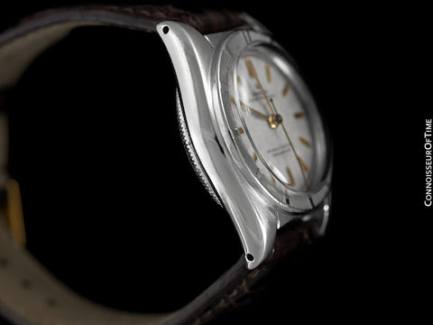1951 Rolex Vintage Mens Oyster Perpetual Bubbleback Watch, Ref. 6015 - Stainless Steel