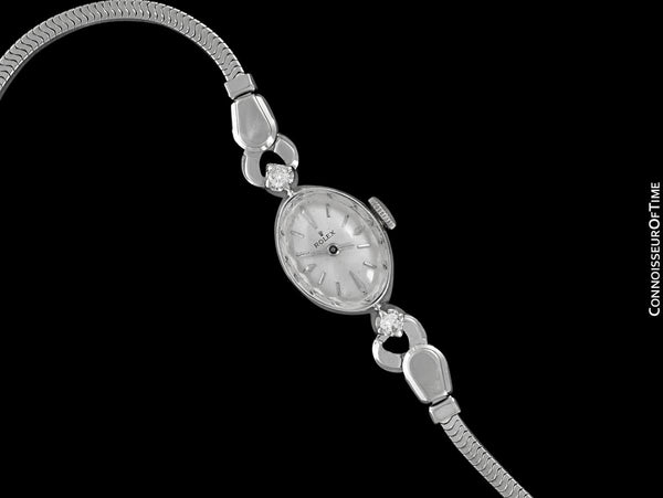 1960's Rolex Ladies Dress Watch, Silver Dial - 14K White Gold and Diamonds
