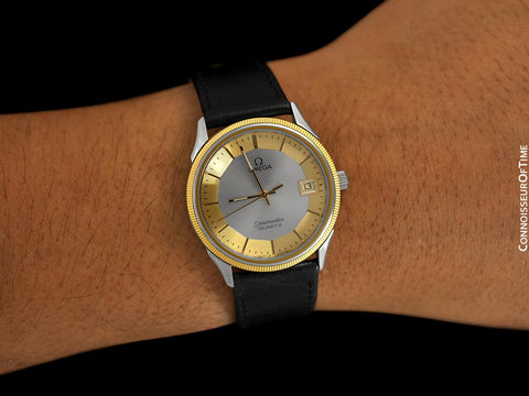 1980 Omega Seamaster Classic Accuset Vintage Mens Watch, 18K Gold Plated & Stainless Steel - Rare Dial with Pie Pan Look