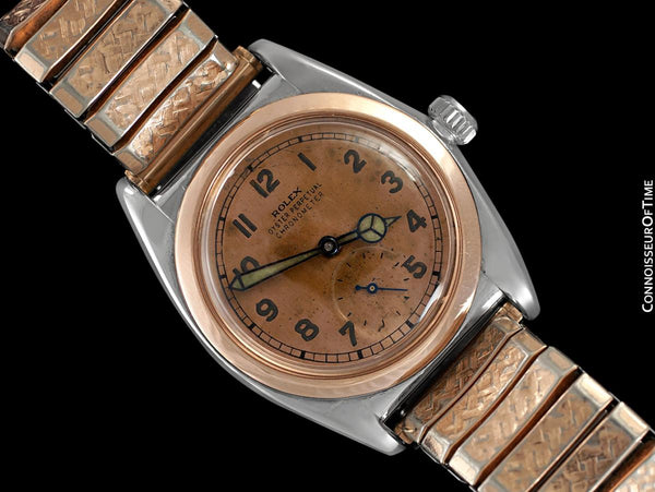 1938 Rolex Vintage Mens Oyster Perpetual Bubbleback Watch, Ref. 3132 - Stainless Steel & 18K Rose Gold