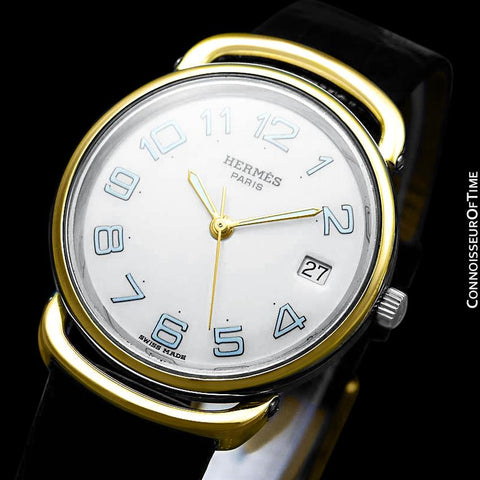 Hermes Mens Midsize Unisex Pullman Watch - 18K Gold Plated & Stainless Steel