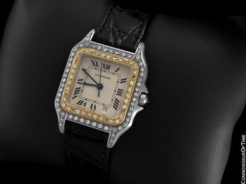 Cartier Panthere Two-Tone Mens Mens Midsize / Unisex Watch - Stainless Steel, 18K Gold Plated & Diamonds