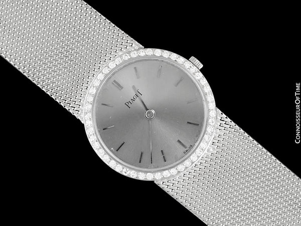 Piaget Ladies Vintage Ultra Thin 9P2 Handwound Dress Watch - 18K White Gold & Factory Piaget Diamonds