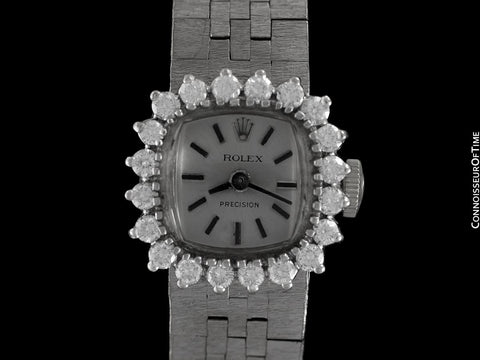 1960's Rolex Vintage Ladies Dress Bracelet Watch - 14K White Gold & Diamonds