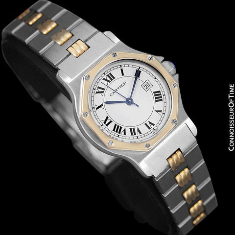 Cartier Santos Octagon Godron Mens Midsize Watch, Automatic - Stainless Steel & 18K Gold
