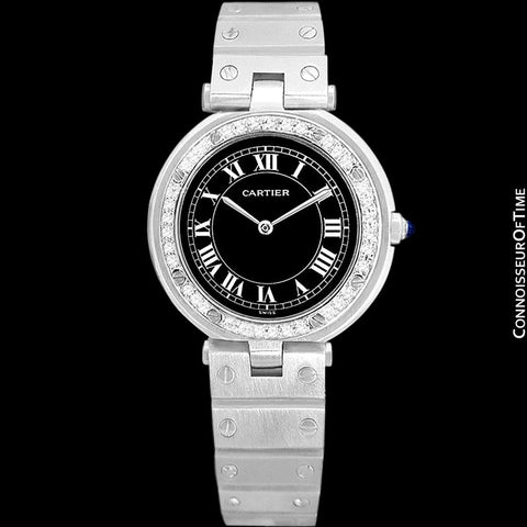Cartier Santos Vendome Ladies Quartz Watch with Black Dial - Stainless Steel & Diamonds