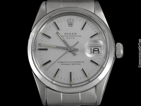 1972 Rolex Date (Datejust) Vintage Mens with Silver Dial Monochrome Design - Stainless Steel
