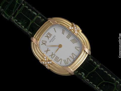 Hermes Lupine Ladies Watch - Solid 18K Gold with Original Factory Hermes Diamonds