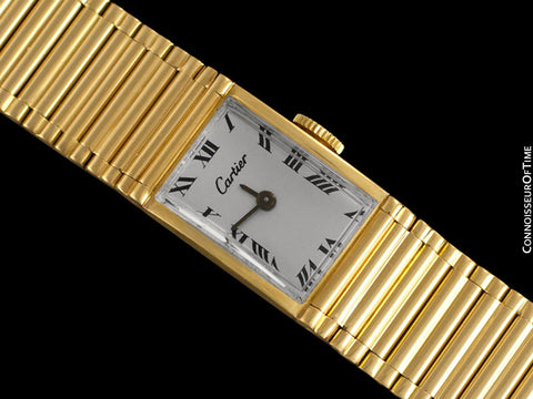 1960's Cartier by Girard Perregaux Vintage Ladies Watch with Bamboo Style Bracelet - 18K Gold