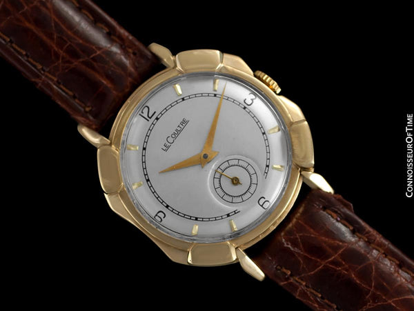 1948 Jaeger-LeCoultre Vintage Mens Watch, Rare Case, 14K Gold - The Pershing