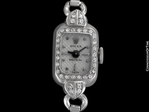 1940's Rolex Ladies Vintage Cocktail Watch - 18K White Gold and Diamonds