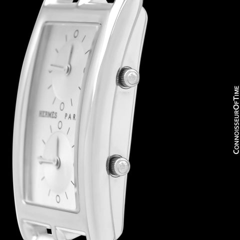 Hermes Cape Code Deux Zones Dual Time Zone Unisex or Mens Midsize Watch, Ref. CC3-510 - Stainless Steel