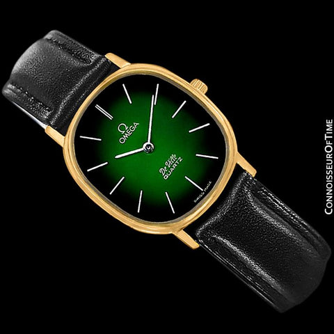 1980 Omega De Ville Vintage Mens Midsize Green Vignette Dial Watch - 18K Gold Plated
