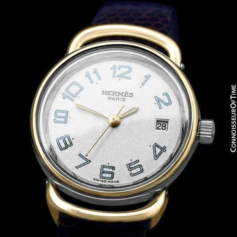 Hermes Pullman Ladies Special Silver Flake Dial Watch with Date - 18K Gold Plated and Stainless Steel