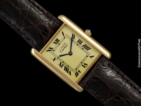 Cartier Vintage Mens Tank Quartz Watch - Gold Vermeil, 18K Gold over Sterling Silver
