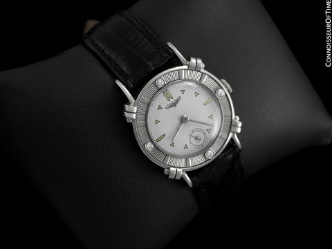 1952 Longines Vintage Mens Midsize Watch with Knot Lugs - 14K White Gold and Diamonds