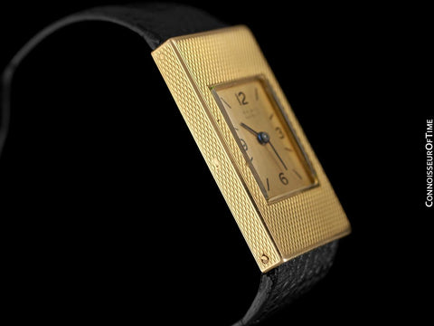 1940's Van Cleef and Arpels VCA Vintage Mens Midsize Unisex Rectangular Watch - 18K Gold