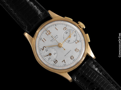 1940's Swiss Vintage Mens Sporting Chronograph - 18K Rose Gold