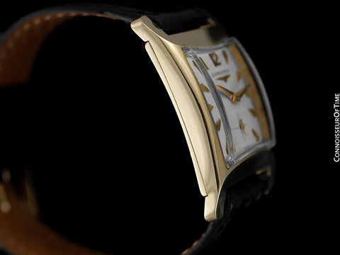1955 Longines Vintage Mens Rectangular Handwound Dress Watch, 14K Gold - The Hourglass