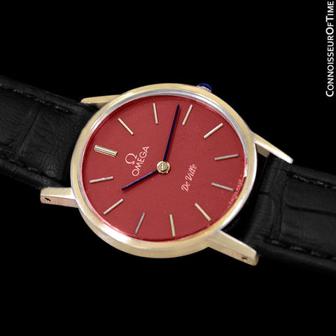 c. 1980 Omega De Ville Vintage Ladies Watch with Berry Red Dial - 18K Gold Plated & Stainless Steel