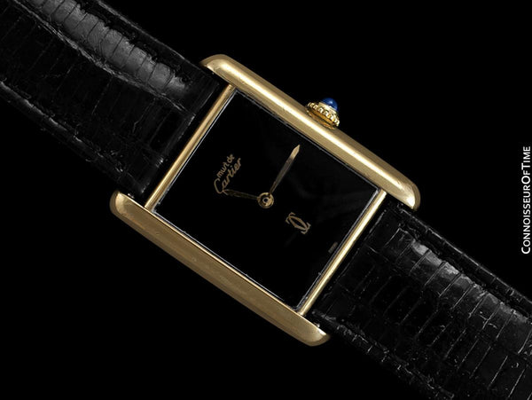 Cartier Vintage Mens Tank Watch with Black Dial - Gold Vermeil, 18K Gold over Sterling Silver